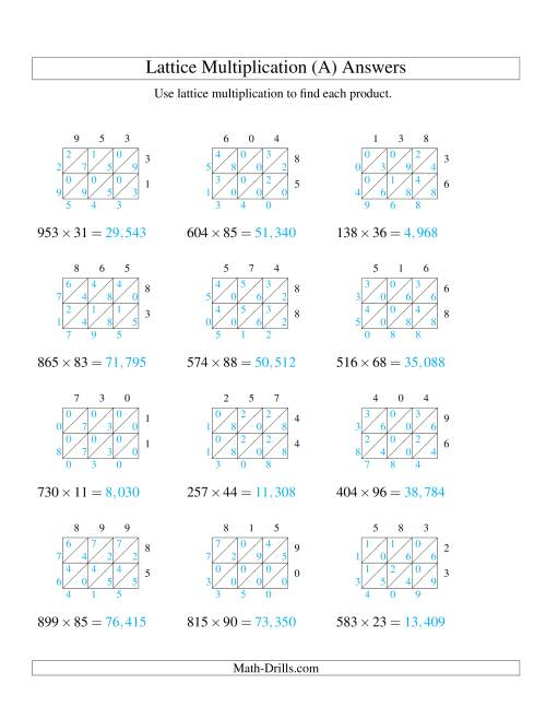 The 3-Digit by 2-Digit Lattice Multiplication (A) Math Worksheet Page 2