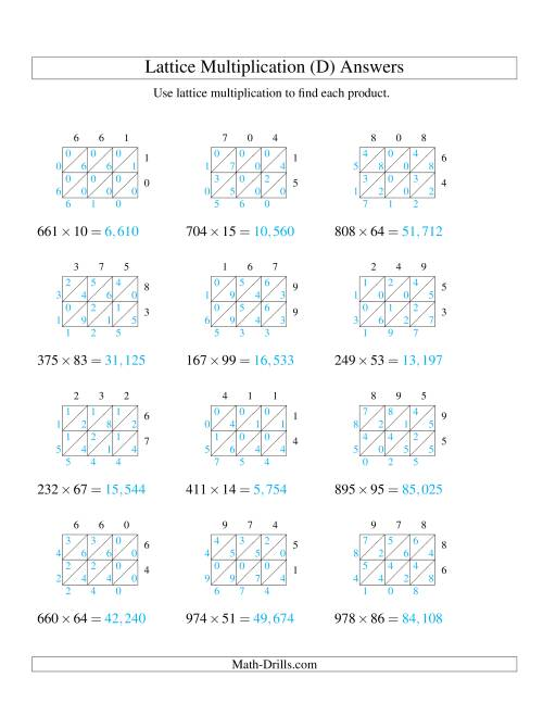 The 3-Digit by 2-Digit Lattice Multiplication (D) Math Worksheet Page 2