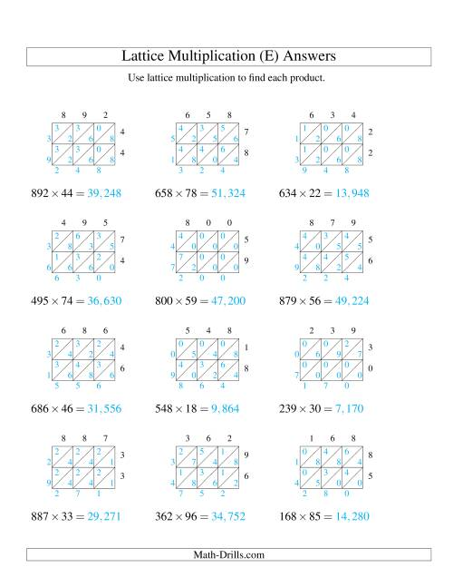 The 3-Digit by 2-Digit Lattice Multiplication (E) Math Worksheet Page 2