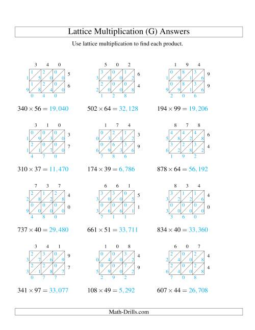The 3-Digit by 2-Digit Lattice Multiplication (G) Math Worksheet Page 2
