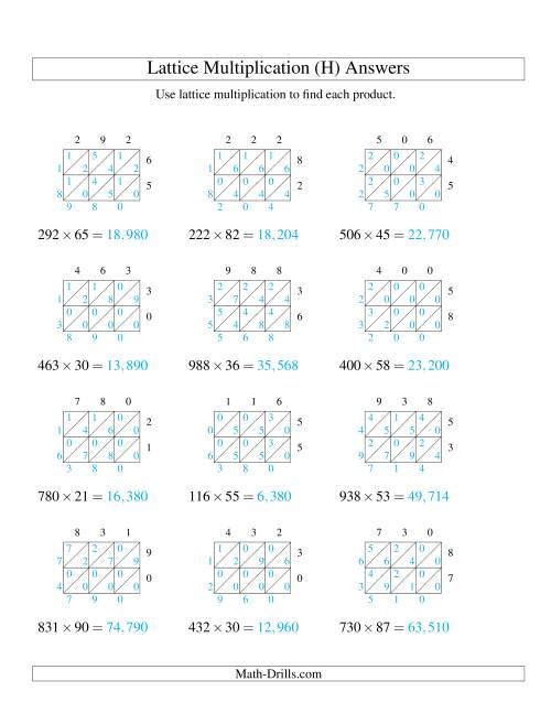 The 3-Digit by 2-Digit Lattice Multiplication (H) Math Worksheet Page 2