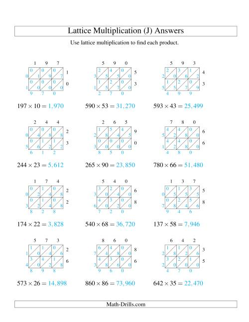 The 3-Digit by 2-Digit Lattice Multiplication (J) Math Worksheet Page 2