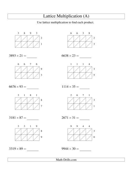 4 digit by 2 digit lattice multiplication a long multiplication worksheet. Black Bedroom Furniture Sets. Home Design Ideas