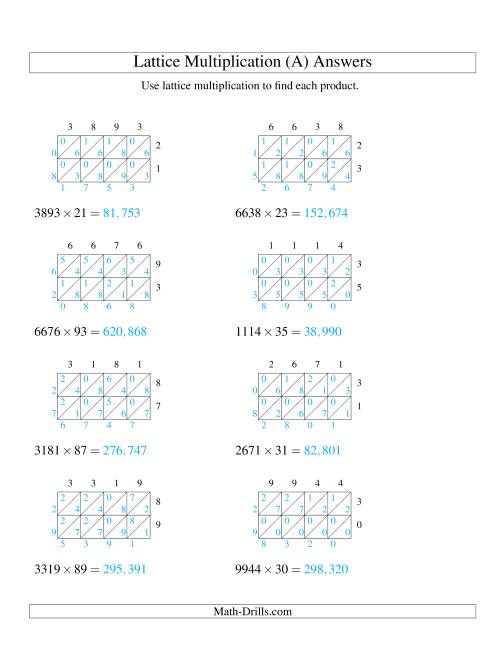 The 4-Digit by 2-Digit Lattice Multiplication (A) Math Worksheet Page 2