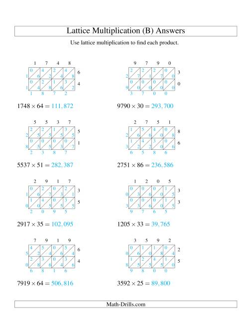 The 4-Digit by 2-Digit Lattice Multiplication (B) Math Worksheet Page 2