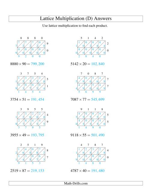 The 4-Digit by 2-Digit Lattice Multiplication (D) Math Worksheet Page 2