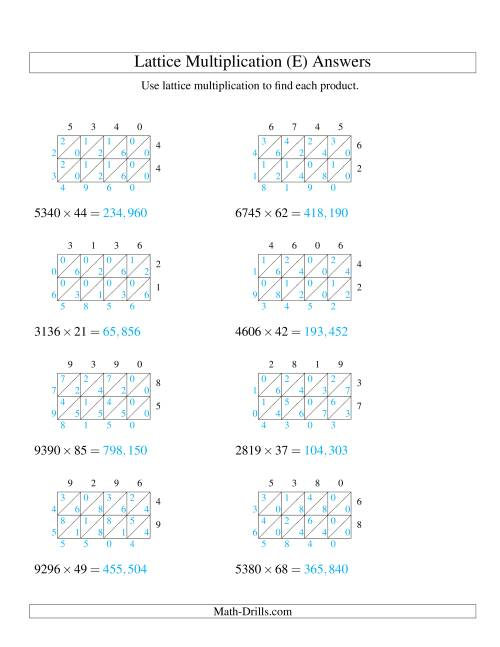 The 4-Digit by 2-Digit Lattice Multiplication (E) Math Worksheet Page 2