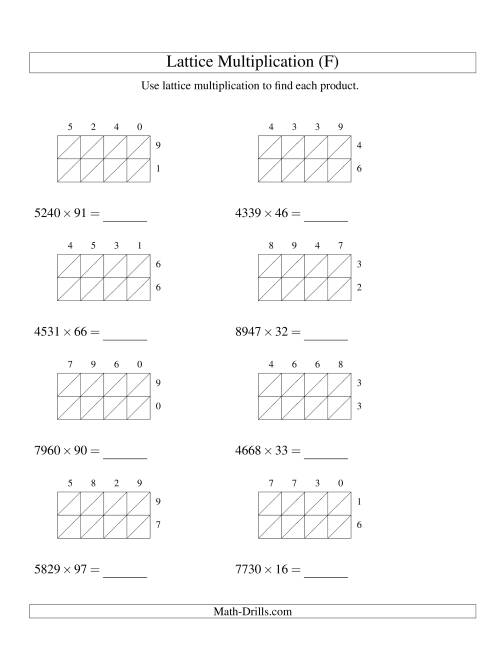 The 4-Digit by 2-Digit Lattice Multiplication (F) Math Worksheet