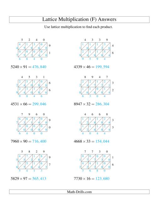 The 4-Digit by 2-Digit Lattice Multiplication (F) Math Worksheet Page 2