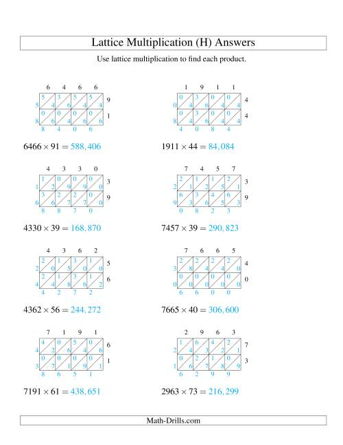 The 4-Digit by 2-Digit Lattice Multiplication (H) Math Worksheet Page 2