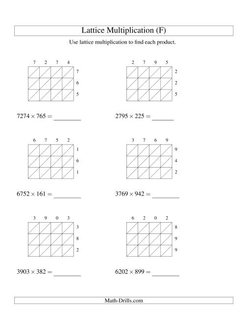 The 4-Digit by 3-Digit Lattice Multiplication (F) Math Worksheet