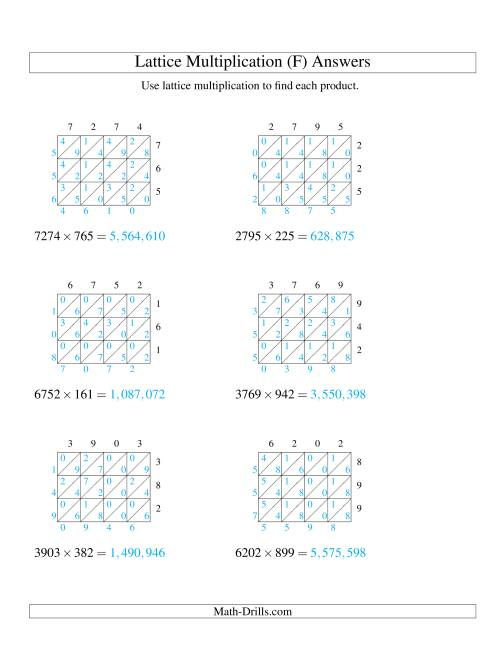 The 4-Digit by 3-Digit Lattice Multiplication (F) Math Worksheet Page 2
