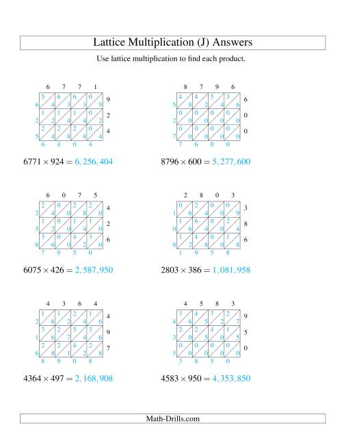 The 4-Digit by 3-Digit Lattice Multiplication (J) Math Worksheet Page 2