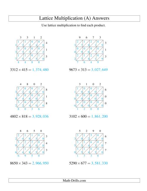 The 4-Digit by 3-Digit Lattice Multiplication (All) Math Worksheet Page 2