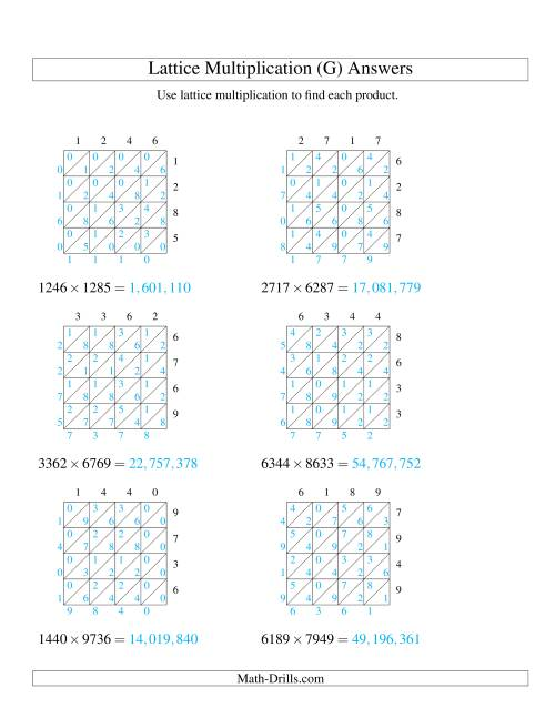 The 4-Digit by 4-Digit Lattice Multiplication (G) Math Worksheet Page 2