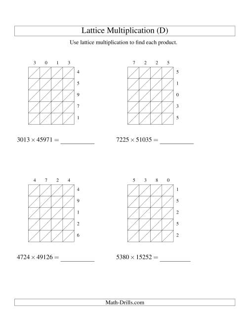 The 4-Digit by 5-Digit Lattice Multiplication (D) Math Worksheet
