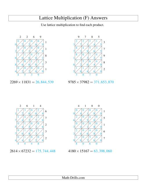The 4-Digit by 5-Digit Lattice Multiplication (F) Math Worksheet Page 2