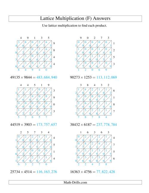 The 5-Digit by 4-Digit Lattice Multiplication (F) Math Worksheet Page 2