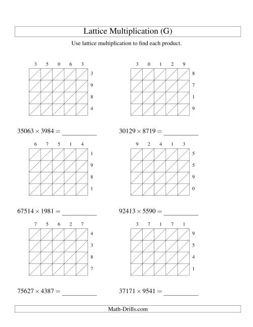 The 5-Digit by 4-Digit Lattice Multiplication (G) Math Worksheet