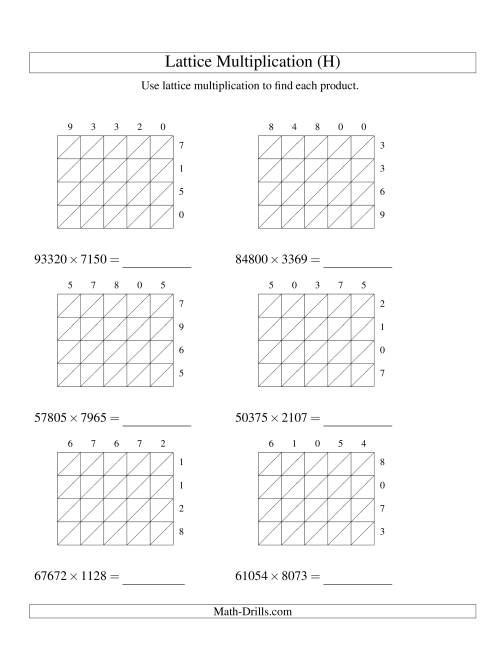 The 5-Digit by 4-Digit Lattice Multiplication (H) Math Worksheet