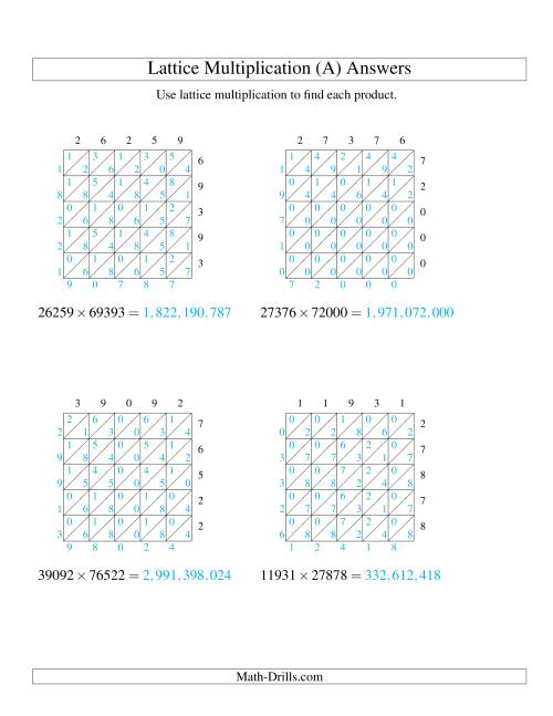 The 5-Digit by 5-Digit Lattice Multiplication (A) Math Worksheet Page 2