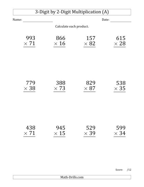 Multiplying 3Digit by 2Digit Numbers Large Print A Long – Multiplication by 2 Digits Worksheets