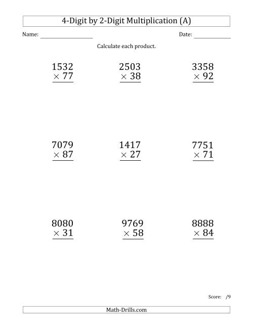 The Multiplying 4-Digit by 2-Digit Numbers (Large Print) (A) Math Worksheet