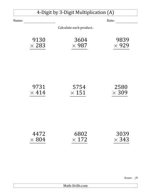 The Multiplying 4-Digit by 3-Digit Numbers (Large Print) (A) Math Worksheet