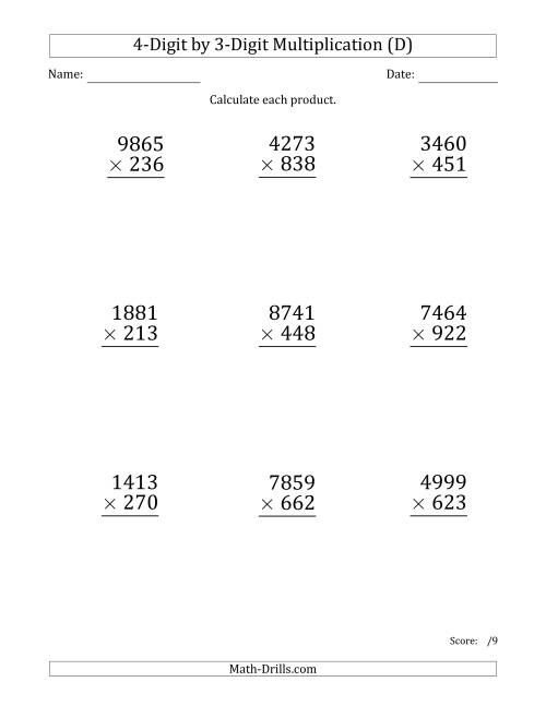 The Multiplying 4-Digit by 3-Digit Numbers (Large Print) (D) Math Worksheet