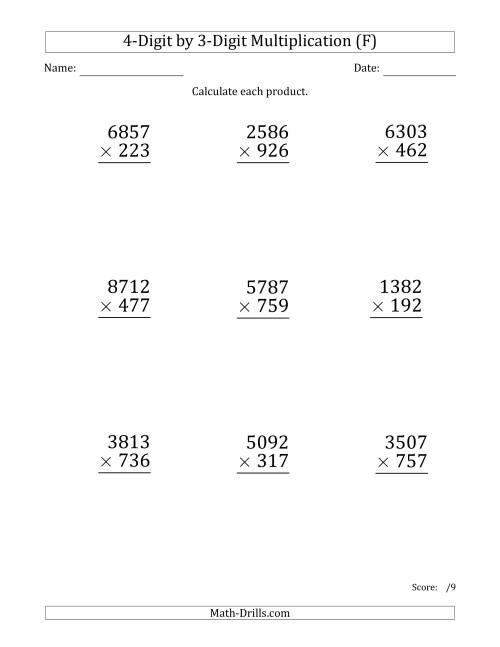 The Multiplying 4-Digit by 3-Digit Numbers (Large Print) (F) Math Worksheet
