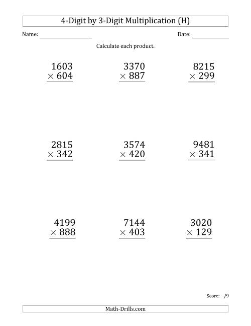 The Multiplying 4-Digit by 3-Digit Numbers (Large Print) (H) Math Worksheet