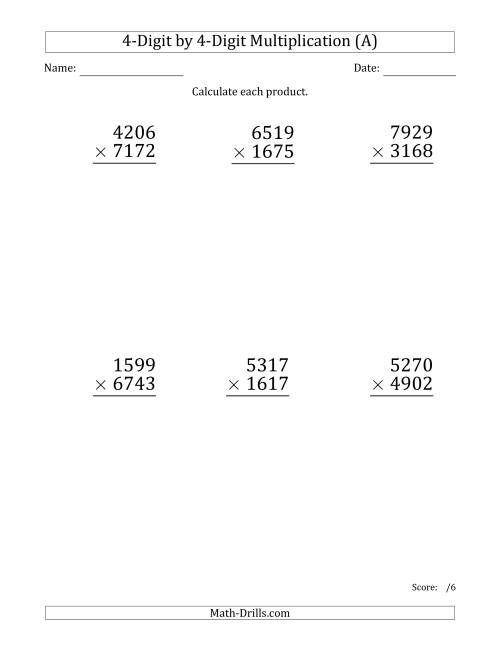 The Multiplying 4-Digit by 4-Digit Numbers (Large Print) (A) Long Multiplication Worksheet
