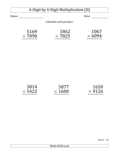 The Multiplying 4-Digit by 4-Digit Numbers (Large Print) (D) Math Worksheet