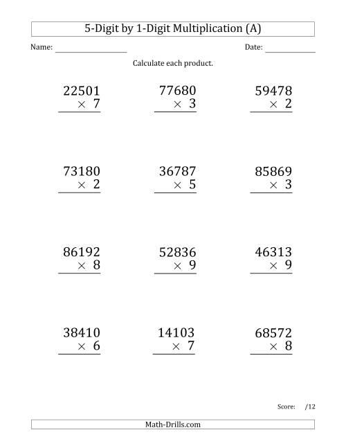 math worksheet : multiplying 5 digit by 1 digit numbers large print  a long  : 1 Digit Multiplication Worksheets