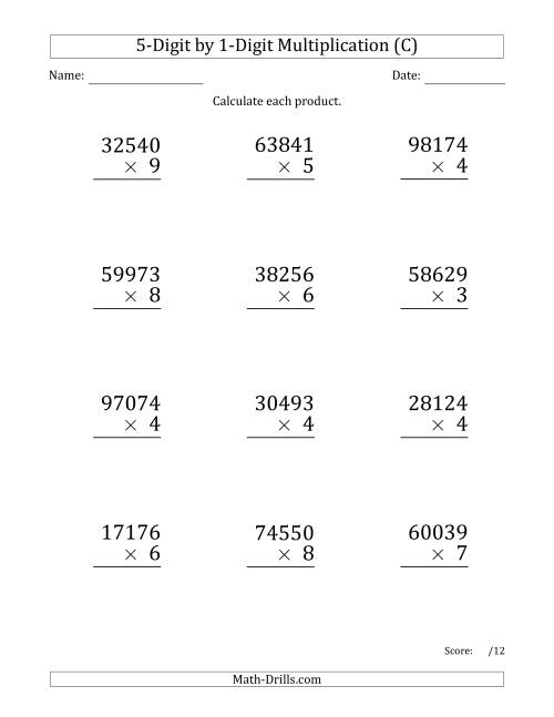 The Multiplying 5-Digit by 1-Digit Numbers (Large Print) (C) Math Worksheet
