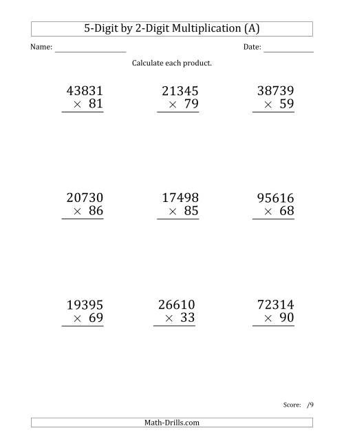 The Multiplying 5-Digit by 2-Digit Numbers (Large Print) (A) Long Multiplication Worksheet