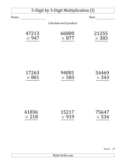 The Multiplying 5-Digit by 3-Digit Numbers (Large Print) (I) Math Worksheet