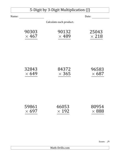 The Multiplying 5-Digit by 3-Digit Numbers (Large Print) (J) Math Worksheet