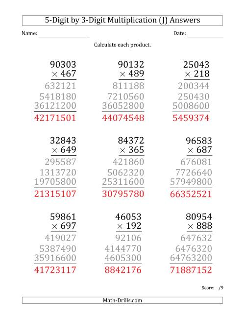 The Multiplying 5-Digit by 3-Digit Numbers (Large Print) (J) Math Worksheet Page 2