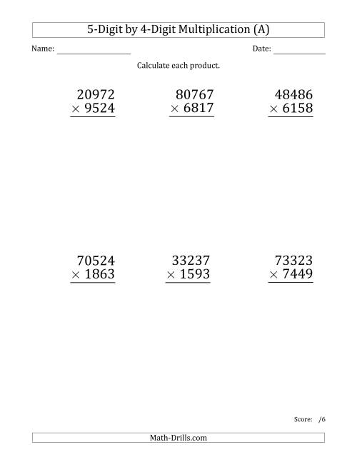 The Multiplying 5-Digit by 4-Digit Numbers (Large Print) (A) Math Worksheet
