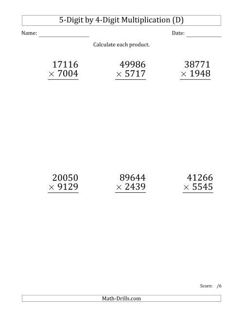 The Multiplying 5-Digit by 4-Digit Numbers (Large Print) (D) Math Worksheet