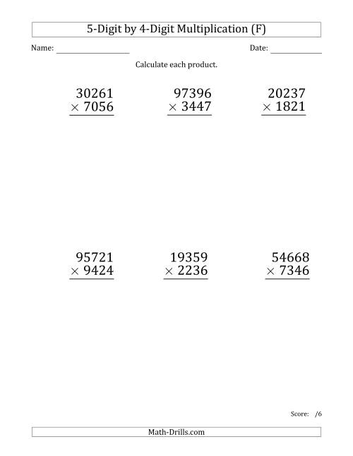 The Multiplying 5-Digit by 4-Digit Numbers (Large Print) (F) Math Worksheet
