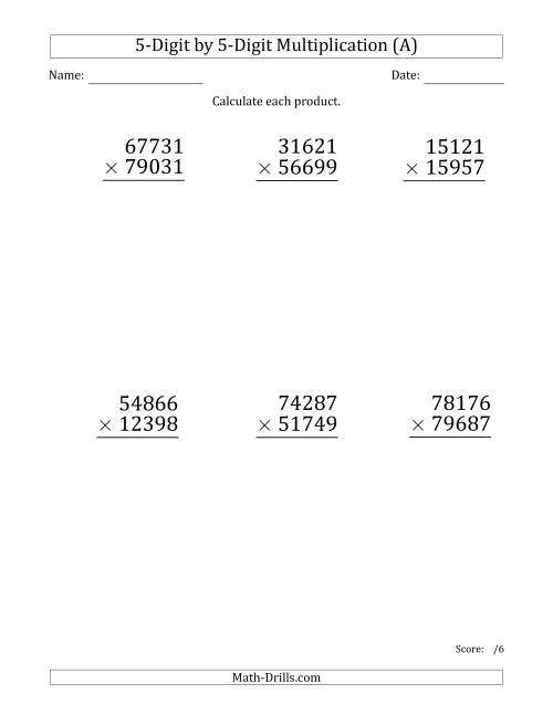 The Multiplying 5-Digit by 5-Digit Numbers (Large Print) (A) Long Multiplication Worksheet