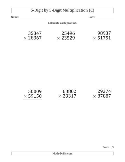 The Multiplying 5-Digit by 5-Digit Numbers (Large Print) (C) Math Worksheet