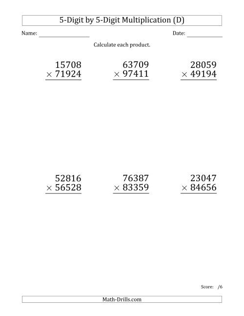 The Multiplying 5-Digit by 5-Digit Numbers (Large Print) (D) Math Worksheet