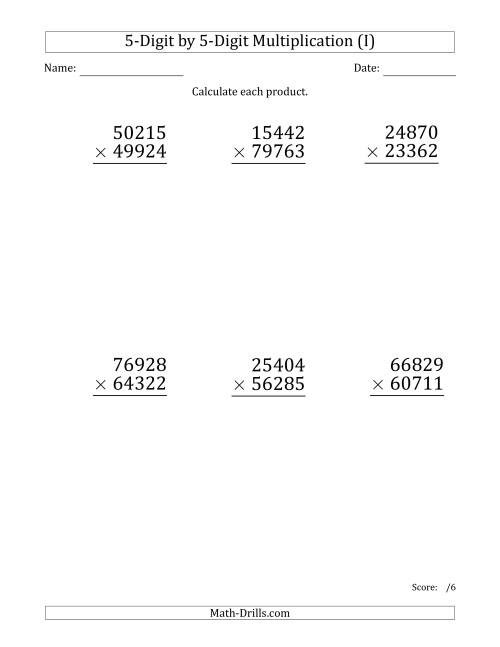 The Multiplying 5-Digit by 5-Digit Numbers (Large Print) (I) Math Worksheet