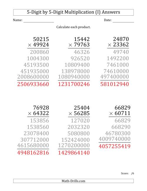 The Multiplying 5-Digit by 5-Digit Numbers (Large Print) (I) Math Worksheet Page 2
