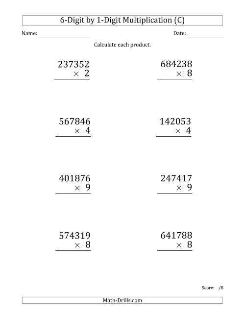 The Multiplying 6-Digit by 1-Digit Numbers (Large Print) (C) Math Worksheet