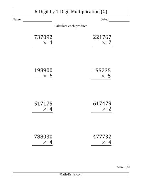 The Multiplying 6-Digit by 1-Digit Numbers (Large Print) (G) Math Worksheet