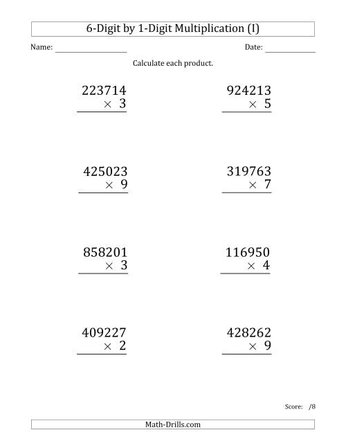 The Multiplying 6-Digit by 1-Digit Numbers (Large Print) (I) Math Worksheet
